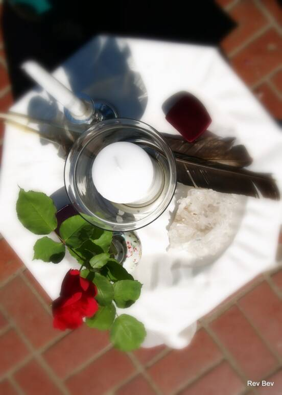 candle, feather, rose